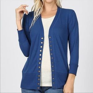30% OFF 2/MORE M,1X,3X Snap Button Cardigan Blue